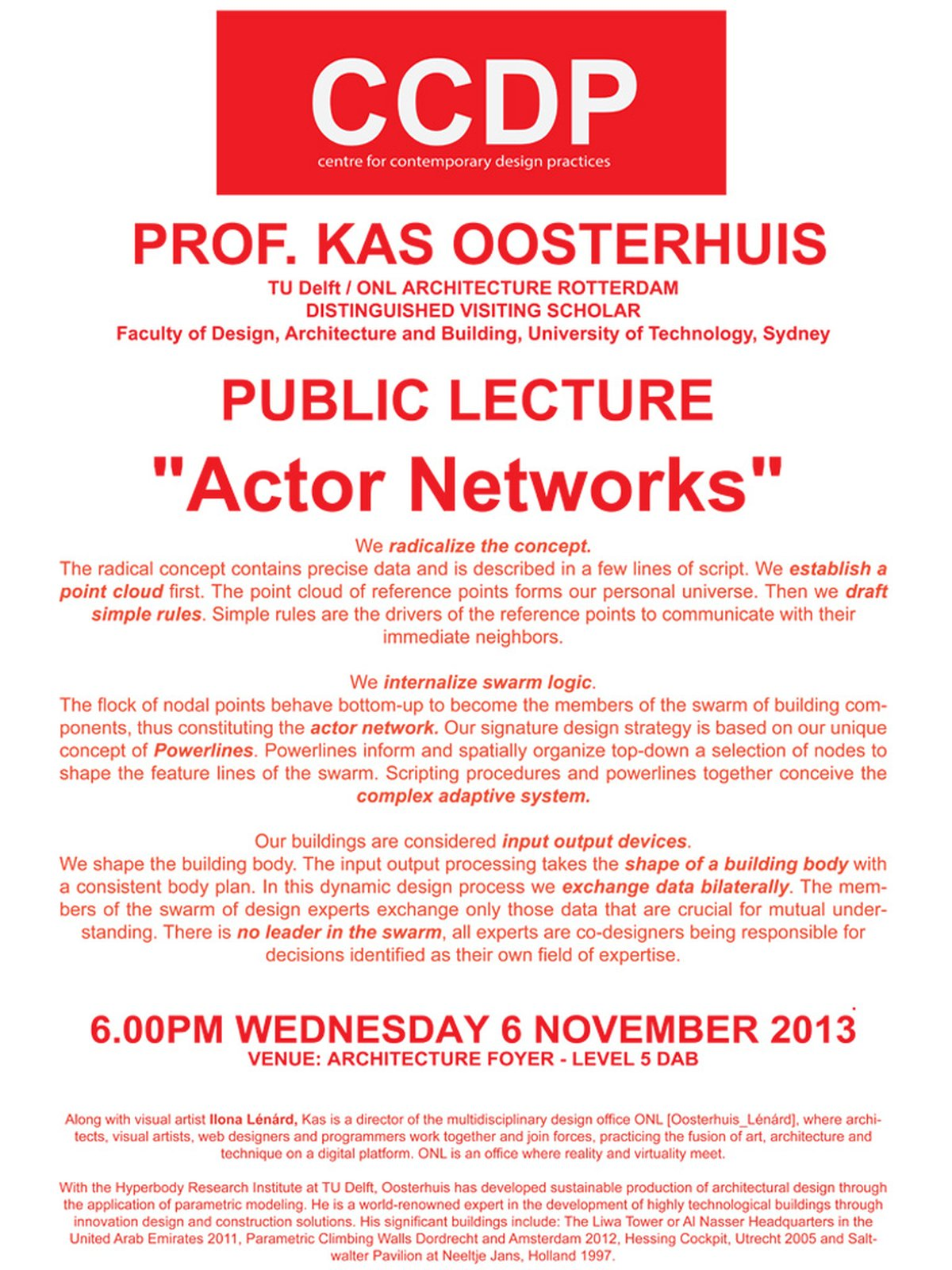 prof  Kas Oosterhuis will lecture at CCDP, University of